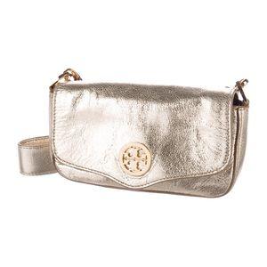 Tory Burch mini Robinson crossbody purse gold